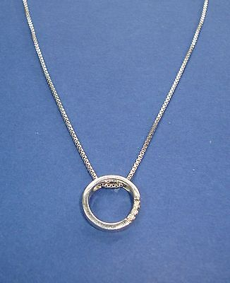 925 Sterling silver & Diamond Ring Pendant on 925 Box Chain