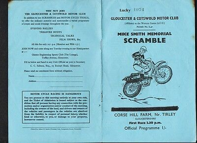 TIRLEY  MOTORCYCLE Mike SMITH  MEMORIAL SCRAMBLE Glos +Cotswold 1967 Prgramme