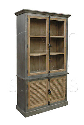Zinc Wrapped w/Glazed Top Reclaimed Wood Cabinet Display Curio/Bookcase,86.5''H.
