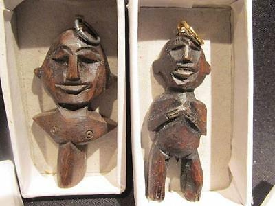 African Design Pair of Wooden Figural Pendants with Gold Metal Bale & Boxes