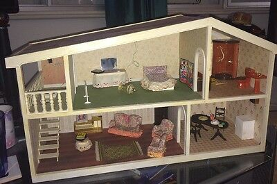 VINTAGE BARTON CLAREMONT CHALET STYLE DOLLS HOUSE By Carolines Home with Content