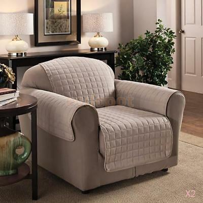 2 x FURNITURE PROTECTOR PETS SLIPCOVER 1-SEAT QUILTED SOFA COUCH COVER LIGHTGRAY