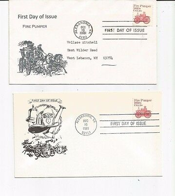 Two Fire FDCs - USA #1908 - Fire Engines - Yudkin & Mitchell Cachets - 1981