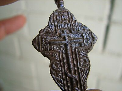 Nice Late Medieval Period  Big (!)  Bronze Cross #4783