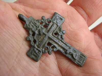 Nice Late Medieval Period  Big (!)  Bronze Cross #4781
