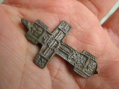 Nice Late Medieval Period  Big (!)  Bronze Cross #4771