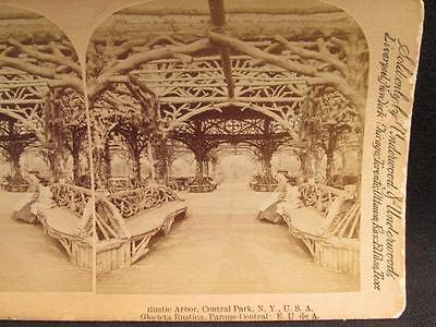 Central Park NY USA Rustic Arbor Antique Underwood Stereoview Image