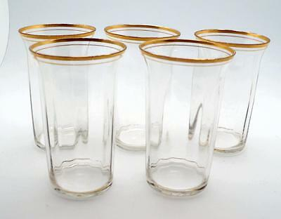 5 Tiffin Rims of Gold Highball Tumblers 5 1/4 inch flared rim panel sides Optic