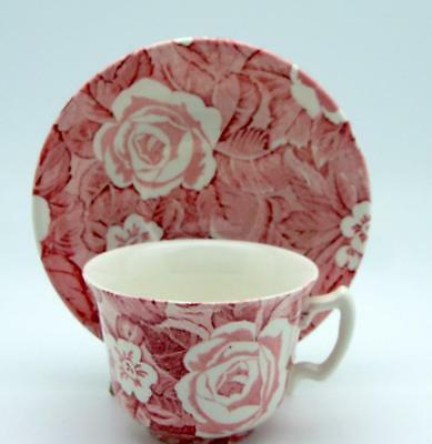 Burleigh Staffordshire  China England Victorian Chintz Cup and Saucer Pink Red