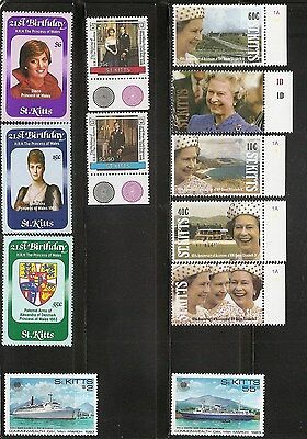 St Kitts SC # 93-95, 181-182, 332-335 Royalty # 106-107 Commonwealth Day. MNH