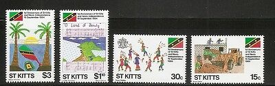 St Kitts SC # 157-160 1st Anniversary of independence. MNH
