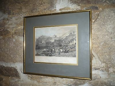 Antique engraving  of St Mawes Cornwall hand coloured 1824 Rare by Turner/Allen
