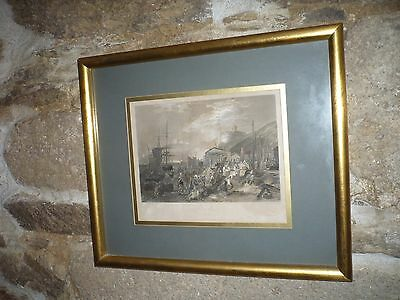 Large antique engraving  of St Mawes Cornwall hand coloured 1830 Rare by Turner