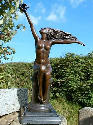 100% BRONZE ART DECO NUDE FEMALE *The Carrier Pigeon* Signed & Foundry Seal
