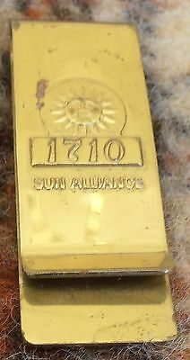 Gentleman'S Vintage Sun Alliance Insurance 1710 Gold Tone Money Clip.