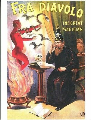 Postcard Of Advertisement For Fra Diavolo The Great Magician