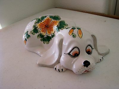 Flowered dog ceramic bank - ITALY   (no stopper)