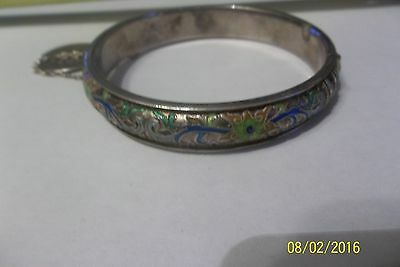 Old import export Chinese Sterling Silver Bangle Bracelet with enamel flowers