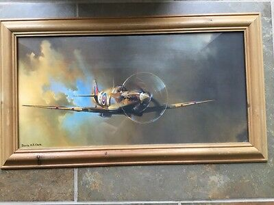 Framed Print of a Spitfire by Barrie F Clark 59 X 33cm