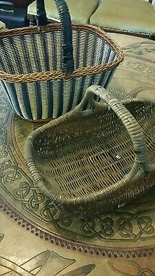 TWO VINTAGE  Wicker Shopping Baskets