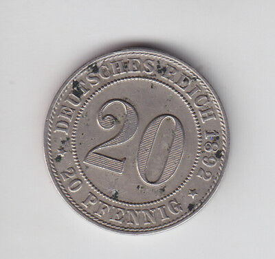 German Empire Deutsches Reich 20 Pfennig 1892 F  SS-VZ R