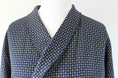 vintage Marks & Spencer navy paisley dressing gown smoking jacket 60s mens XL 46