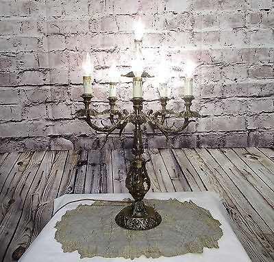 Vintage Antique Table Lamp Candelabra Original Rewired 6 Light