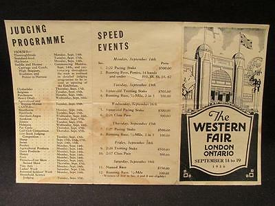 Western Fair London Ontario 1936 Brochure Programme 69th Annual