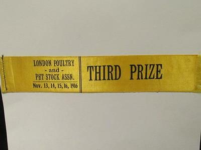Western Fair London Ontario 1916 Poultry & Pet Stock Ass'n Third Prize Ribbon