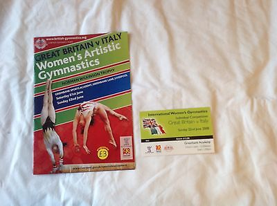 Great Britain V Italy Women's Artistic Gymnastics June 2008 Programme-Vgc