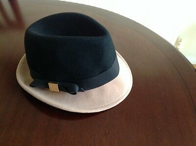 Ted Baker Black / Beige Trilby Hat, One Size