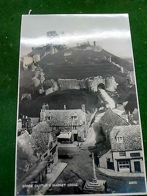 Old Rppc Postcard Corfe Castle And Market Cross