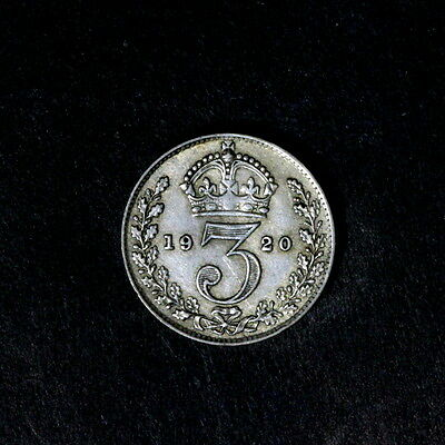 1920 George V  Silver Threepence, In Better Condition,a38