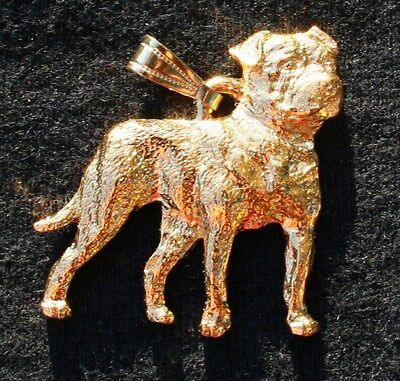 AMERICAN BULLDOG Dog 24K Gold Plated Pewter Pendant Jewelry USA Made