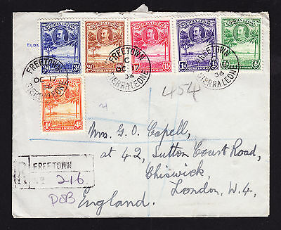 KGV Sierra Leone stamps on a 1936 registered cover from Freetown to London, GB