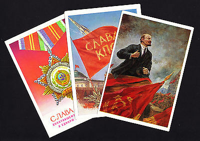 Four 1960s Soviet Russia Postcards & one 1977 folded leaflet/double postcard