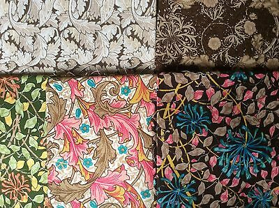 NEW 5 FAT 1/4s COTTON PATCHWORK FABRIC, WILLIAM MORRIS BY FABRIC FREEDOM  LOT B