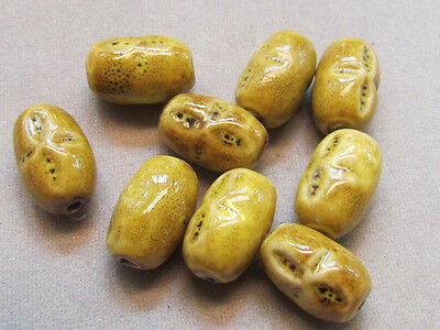 12 Yellow Gold 18x12mm  Porcelain Beads ,(G36L16)
