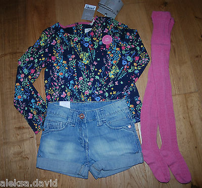 BNWT NEXT 5-6 years girls FLORAL TOP*TIGHTS DENIM SHORTS SET/BUNDLE *BLUE/PINK