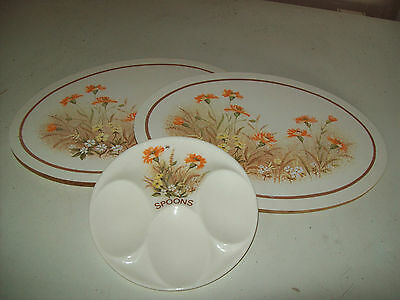 M&s Field Flowers Oddments 2 Xoval Pot/casserole Stands & Spoon Rest - Excellent