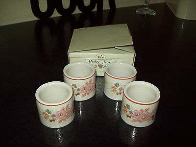 4 X Boots Hedge Rose Napkin Rings In Box - Excellent Condition