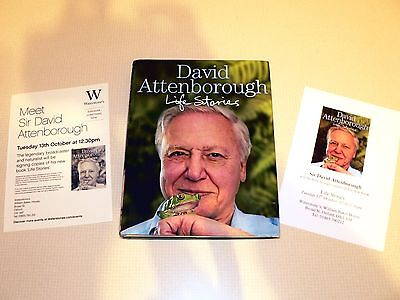 David Attenborough SIGNED & dated + flyers photographs Life Stories 1st Edition