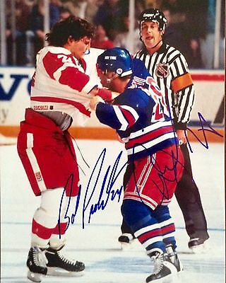 BOB PROBERT VS TIE DOMI FIGHT AUTOGRAPHED 8x10 COLOUR PHOTO SIGNED COA WINGS NYR