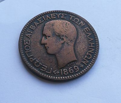 Greece, 10 Lepta 1869 BB in Good Condition.