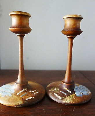 a pair of vintage wooden crinoline lady candlesticks 6 inches