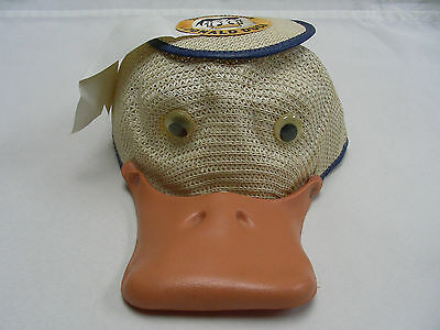 "Donald Duck - Disneyland - Vintage - ""yvette"" - Squeak Bill Rare Wicker Cap Hat!"