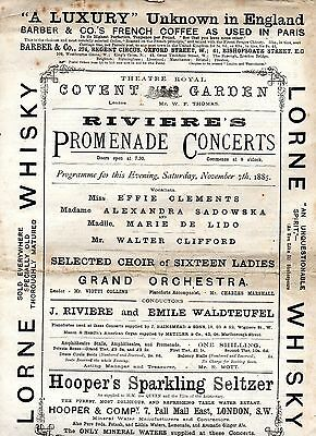 1885 Covent Garden Proms Programme Emile Waldteufel Conducting his Own Music
