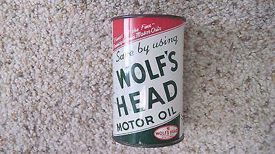 Vintage Wolfs Head Motor Oil Tin Can Bank Nr