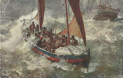 Lifeboat In Storm Royal National Lifeboat Institution Tuck Oilette C1910 P'card
