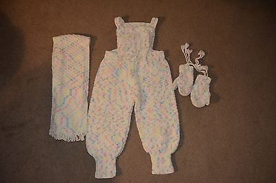 Vintage Girl's 1970s Hand-Knitted Acrylic Wool Bib Overalls, Mittens & Scarf Set